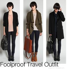 foolproof travel outfit: pants + top + jacket/sweater + scarf + comfy shoes