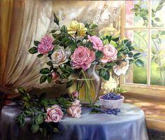 Картины (живопись) : Натюрморт с розами. Автор Жанна Когай
