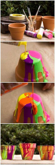 Poured Painted Pots by moonfrye.com Moonfrye DIY/ Paint Crafts/ Kids Crafts/ Kids Art Projects