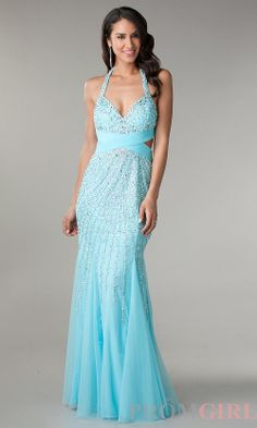 Prom Dresses, Celebrity Dresses, Sexy Evening Gowns at PromGirl: Full Length Halter Dress