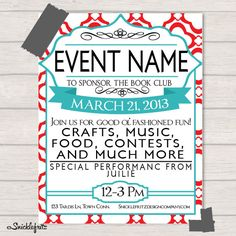 red and turquoise event flyer personalized by snicklefritzdesignco 1500