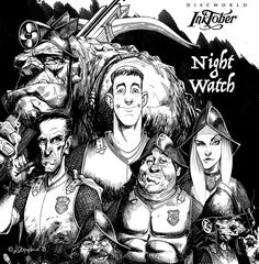 Night Watch Roll call from 'Men at Arms', City Watch series, book 2 (Terry Pratchett of course) Detritus the troll Captain Vimes, Carrot Ironfounderson . Discworld Characters, Discworld Books, Fantasy Books, Fantasy World, Fantasy Art, Terry Pratchett Discworld, Little Things Quotes, Comics Story, Inktober