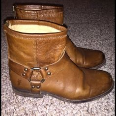 Frye Phillip Harness Ankle Boots Gently used Frye cognac Phillip Harness Boot. In great shape, from a smoke free home. Frye Shoes Ankle Boots & Booties