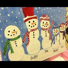 Snowman family canvas painting