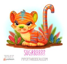 Daily Paint Sugrrr by Piper Thibodeau Cute Animal Drawings, Kawaii Drawings, Cute Drawings, Animal Puns, Funny Animals, Cute Animals, Animal Food, Cute Creatures, Mythical Creatures