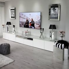 fine Amazing Living Room TV Wall Decor Ideas And Remodel The room will be far more attractive if the subject of conversation isn't about your TV. For insta. Condo Living Room, Ikea Living Room, Living Room Decor Cozy, Living Room Paint, Living Room Grey, Interior Design Living Room, Living Room Designs, Kitchen Living, Classy Dorm Room
