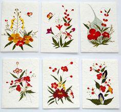 Pressed Flower Designs | Greeting Card Handmade Real Pressed Flowers Art