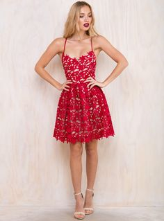 Rose Spaghetti Strap Midi Dress