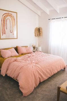Effortless styling done right with our Wildflower Pink Quilt Cover and Mustard Sheet Set. All in our 100 Pure French Flax Linen. Shot in the home of Ellie Bullen Home Bedroom, Bedroom Decor, Warm Bedroom, Bedroom Sets, Aesthetic Rooms, Bed Styling, My New Room, Home Decor Inspiration, Home Office
