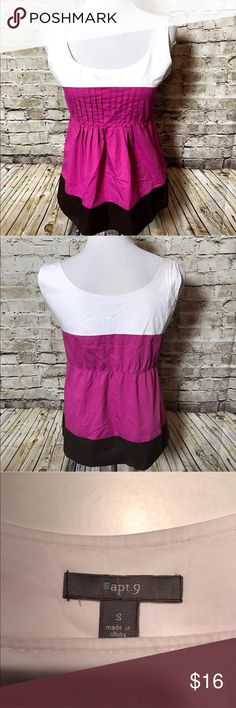 """Apt 9 Ladies Small Tank Top Shirt Peplum Pintuck Great condition! Measures about 24"""" from shoulder to bottom and about 18"""" from armpit to armpit when laid flat. Apt. 9 Tops Tank Tops"""