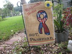 Welcome Home Military Burlap Garden Flag by RuffledStitches on Etsy