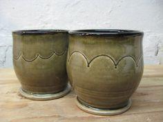 Pair of Grey Ceramic Tumblers by jennyblasenpottery on Etsy