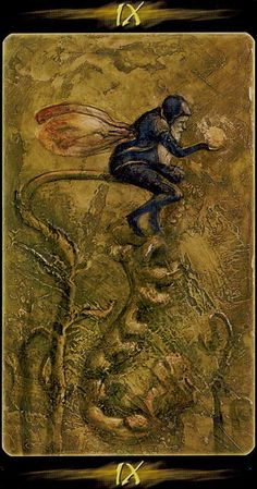 IX. The Hermit - Tarot of the Secret Forest by Lucia Mattioli