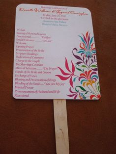 Beach wedding program (and fan). Because even in December, Florida can be hot enough for a fan.