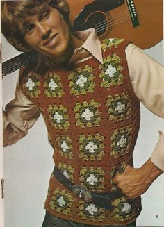 Men's Vintage Crochet Fashion Crochet Cardigan Pattern, Knit Patterns, Vintage Knitting, Vintage Crochet, Granny Square Sweater, Vintage Outfits, Vintage Fashion, Crochet Humor, Vintage Boys