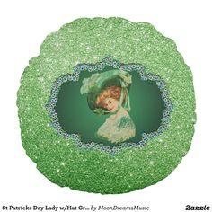 #StPatricksDayLady #GreenFrame #FauxGlitter2 #RoundThrowPillow by #MoonDreamsMusic