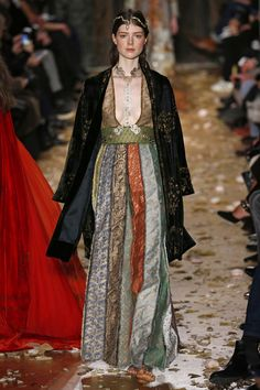 Valentino | Haute Couture - Spring 2016  Apparently this collection was inspired by modern dance icons Isadora Duncan, Ruth St Denis and Martha Graham, and the writer Marcel Proust. Materials: pleats, patchwork, hand-dyed velvet and stencilled Byzantine gilt, Fortuny velvet, aged fabrics.  Freedom, lightness and movement of dance, traces of time