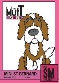 Mini Saint Bernard Saint Bernard x Cocker Spaniel) Dog Humour, Dog Table, Mixed Breed, Cocker Spaniel, Funny Dogs, Puppy Love, Scooby Doo, Dog Breeds, Saints