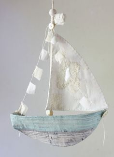 new pattern : paper mache ships – ann wood handmade Ann Wood, Paper Mache Crafts, How To Paper Mache, Paper Mache Projects, Tape Painting, Paper Ship, Arts And Crafts, Diy Crafts, Patterned Sheets