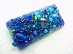 Blue Beaded Brooch Pin a mixed media brooch fibre art jewellery.