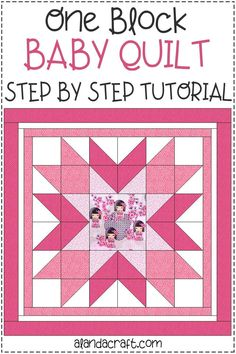 Free pattern for this easy one block quilt. Step-by-step video and written instructions. Easy baby quilt made from just one quilt block. Quilting project. Quilt Blocks Easy, Block Quilt, Quilt Block Patterns, Easy Quilts, Pattern Blocks, Quilting For Beginners, Quilting Tutorials, Quilting Projects, Baby Girl Quilts