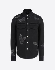 Valentino Uomo Outerwear Shirt Butterfly Embroidery, Shirts for Men - Valentino Online Boutique
