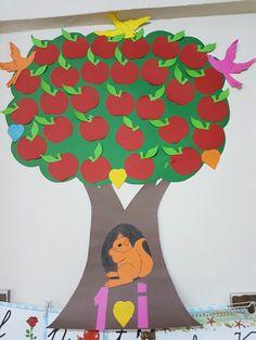 """Sınıfımın kendi yaptığım okuma ağacı """"Çalışan kazanır,elması kızarır. """""""