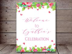 DIY 8x10 Hearts Watercolor Floral Welcome Sign by MagicalPrintable