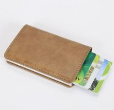 Arrival New Men Blocking Rfid Wallet Mini Leather Business Aluminium Credit Card Holder Purse Automatic Pop Up Card Case Cash Wallet, Rfid Wallet, Purse Wallet, Toy Storage Bags, Purse Holder, Leather Card Wallet, Business Card Holders, Backpack, Change