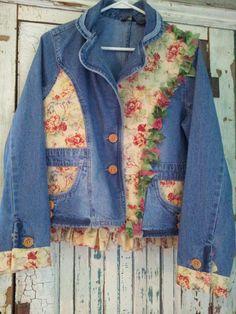 Upcycled Clothing / Upcycled Denim Jacket / Romanic Western Jacket / Medium…
