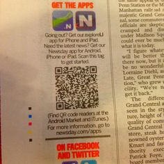 Spotted in the morning newspaper! #Newsday #LongIsland #QRcodes #mobile #marketing
