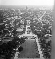 In 1936, the Texas Capitol could easily be seen from any direction. The tallest buildings at the time were the Littlefield Building at 6th Street and Congress Avenue, and the Driskill and Stephen F. Austin hotels. Today, protected view corridors, including one from the UT Tower, ensure that the Capitol isn't completely swallowed up by the growth of downtown Austin. (