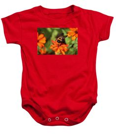 Zinnia Flower Baby Onesie featuring the photograph Bumblebee On Zinnia by Cynthia Guinn