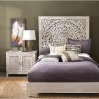 Chennai White Wash Queen Platform Bed, Whitewash