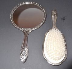 Art Nouveau Hair Brush and Mirror Set by SusieSellsVintage on Etsy, $38.00