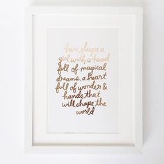 'Here Sleeps A Girl…' Handwritten Rose Gold Foil Print by Sonni & Blush Paper Co., the perfect gift for Explore more unique gifts in our curated marketplace. Rose Gold Rooms, Blush And Gold Bedroom, Rose Gold Wall Art, Rose Gold Quotes, Gold Foil Print, Foil Prints, Girl Sleeping, Rose Gold Foil, Gold Leaf