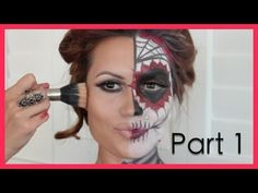 Dia De Los Muertos Halloween Make Up Tutorial (Part1) - YouTube - Lips colored with teeth
