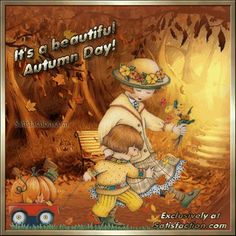 Fall and Autumn Pictures Autumn Day, Autumn Leaves, Autumn Theme, Winter Gif, Thanksgiving Greetings, Mary Engelbreit, Fall Pictures, Holidays Halloween, Cute Illustration