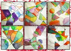Grade 4/5 geometric overlapping shapes painted with analogous colors