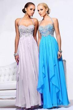 Crystal Halter Chiffon Gown Aqua