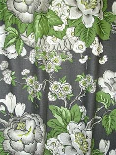 Gray, green and white Ikat high end designer window curtains, Fully lined, Interior Design fabric, Also available in pinch pleated drapes Floral Print Fabric, Floral Prints, Bedroom Drapes, Window Curtains, Curtain Panels, Green Interior Design, Girl Bedroom Designs, Custom Curtains, Curtain Designs