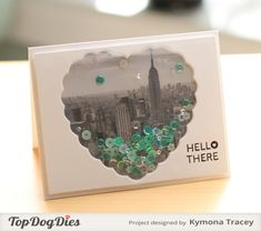 Hello There Shaker was create with Top Dog Die Heart Doily Die, We R Memory Keepers Fuse tool, Studio Calico pattern paper and Lucy Adams sequin. Project Life, Project Ideas, Tarjetas Diy, Shaker Cards, Card Tags, Kit, Creative Cards, Cool Cards, Craft Tutorials