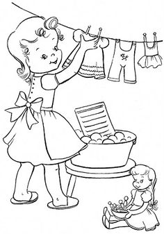 Coloring Book~Rosebud's Coloring Book - Bonnie Jones - Picasa Web Albums Vintage Coloring Books, Coloring Book Pages, Coloring Sheets, Vintage Embroidery, Embroidery Patterns, Hand Embroidery, Human Drawing, Christmas Coloring Pages, Coloring Pages For Kids