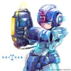 Super acuarela de Rockman, mejor conocido como Megaman