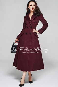 Aliexpress.com : Buy LIMITED SALE Le Palais Vintage 2017 Winter New Elegant Temperament Wine Red Retro Classic Double Breasted Long Women Wool Coat from Reliable womens wool coats suppliers on Mr. and miss Vintage Dresses, Vintage Outfits, Vintage Fashion, La Palais Vintage, Maxi Skirt Tutorial, Le Palais, Autumn Winter Fashion, Fashion Looks, Style Inspiration