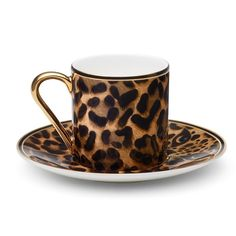 Asprey Leopard Espresso Cup (¥54,565) ❤ liked on Polyvore featuring home, kitchen & dining, drinkware, decor, cups, home decor, leopard cup et purple cups