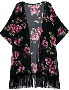 Shop Black Half Sleeve Floral Tassel Loose Kimono at ROMWE, discover more fashion styles online. Kimono Blouse, Floral Kimono, Mode Kimono, Black Kimono, Look Boho, Mode Hijab, Look Fashion, Fashion Styles, Half Sleeves