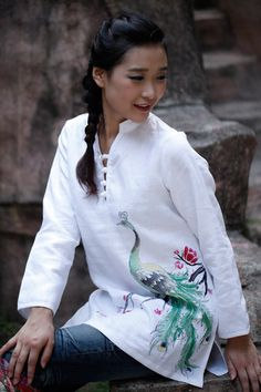 Custom Size Women Shirt with Peacock  White Women Blouse Plus Size Custom Size Made to Order on Etsy, $70.55 CAD