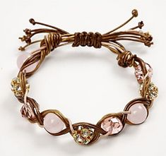 Braided/Weaved bracelet in bronze leather & pink cord (love the bead & cord colors) Website is swedish, link is translated to English...although pics are clear and easy enough to follow...can't wait to make this!