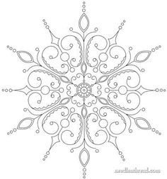 Hand Embroidery Pattern: Snowflake would be a good quilling pattern too